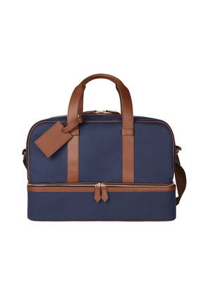 Blue Canvas and Leather Griffin Zip-Round Holdall
