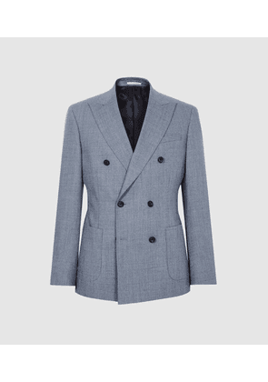 Reiss Worley - Wool Double Breasted Blazer in Light Blue, Mens, Size 36