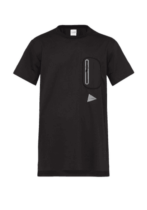 And Wander - Logo Print Longline Performance T Shirt - Mens - Black
