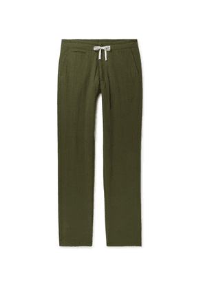 Freemans Sporting Club - Slim-fit Cotton-seersucker Drawstring Trousers - Army green