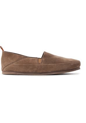 Mulo - Collapsible-heel Suede Loafers - Light brown