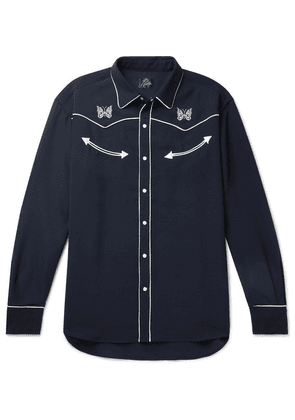 Needles - Embroidered Piped Twill Shirt - Navy