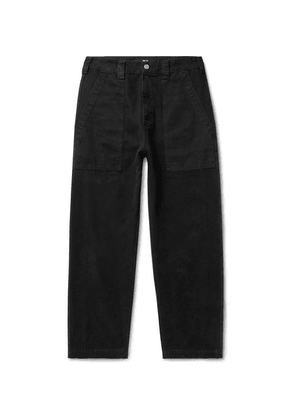 BILLY - Cropped Herringbone-trimmed Cotton-canvas Trousers - Black