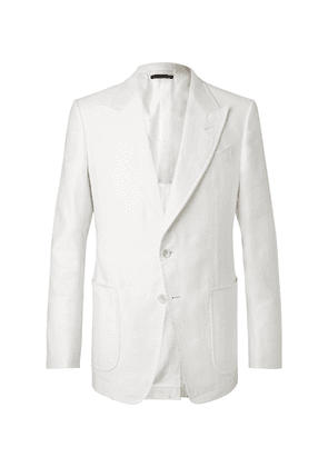 TOM FORD - White Shelton Slim-fit Cotton And Linen-blend Suit Jacket - White