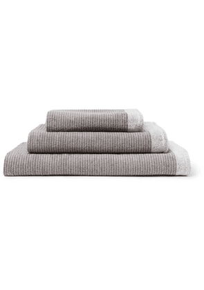 Cleverly Laundry - Set Of Three Striped Superfine Cotton-terry Towels - Gray
