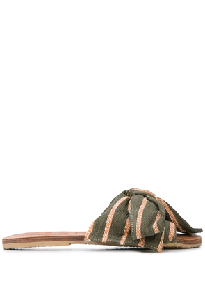 Brother Vellies striped slides - Green