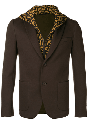 Fendi hooded single-breasted blazer - Brown