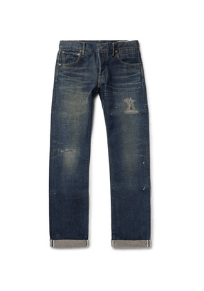 visvim - Social Sculpture 01 Slim-fit Distressed Selvedge Denim Jeans - Indigo