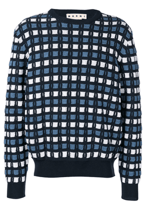 Marni check print jumper - Blue