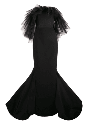 Christian Siriano ruffled tulle detail gown - Black