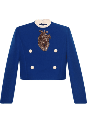 Gucci embroidered anatomical heart top - Blue