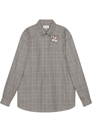 Gucci Oversize wool shirt with patch - Grey