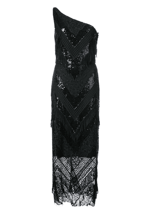 Christian Siriano sequin lace one shoulder dress - Black