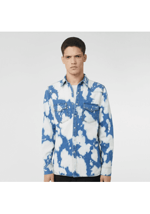 Burberry Monogram Motif Bleached Denim Shirt, Blue