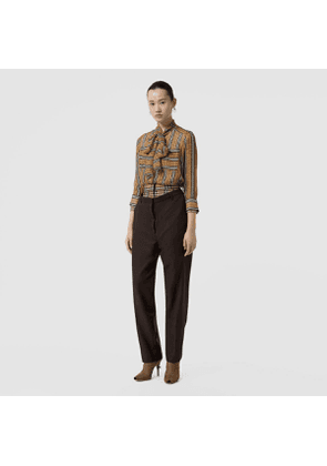 Burberry Vintage Check Panel Double-waist Wool Trousers, Size: 04, Black
