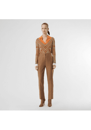 Burberry Wool Silk Mohair Linen Tailored Trousers, Size: 04, Brown