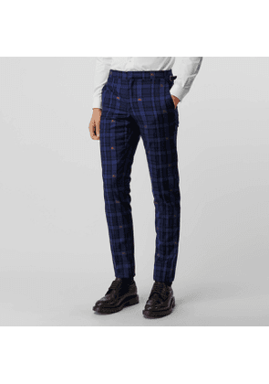 Burberry Slim Fit EKD Check Wool Tailored Trousers, Size: 44, Blue