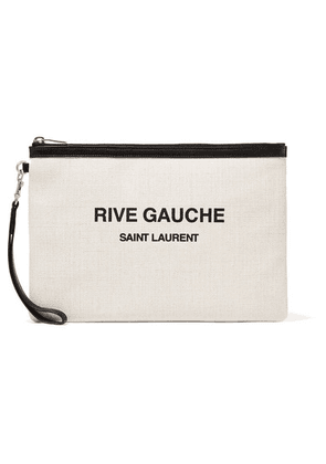 Saint Laurent - Leather-trimmed Printed Canvas Pouch - Cream