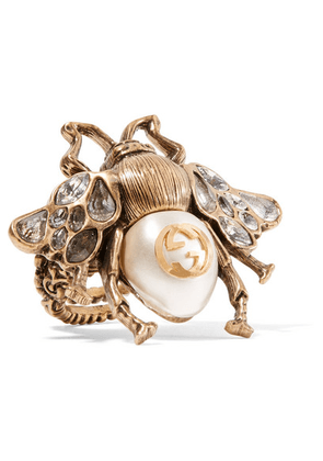 Gucci - Burnished Gold-tone, Faux Pearl And Crystal Ring - small