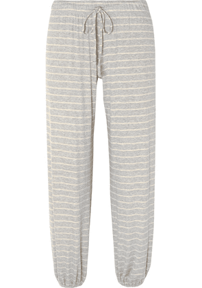 Eberjey - Logan Striped Ribbed Stretch-jersey Track Pants - Gray