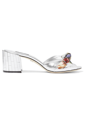 Dolce & Gabbana - Embellished Floral-print Metallic Leather Mules - Silver