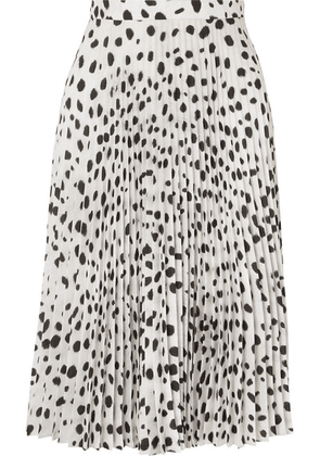 Burberry - Pleated Printed Crepe De Chine Skirt - White