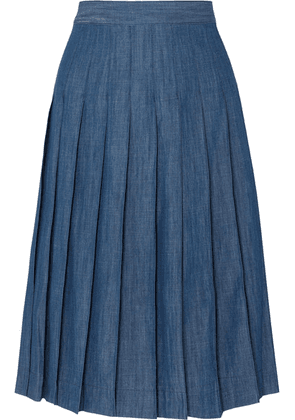 J.Crew - Pleated Cotton-blend Chambray Midi Skirt - Navy