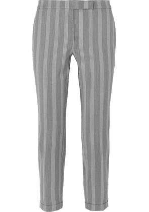 Thom Browne - Cropped Striped Wool And Cotton-blend Slim-leg Pants - Gray