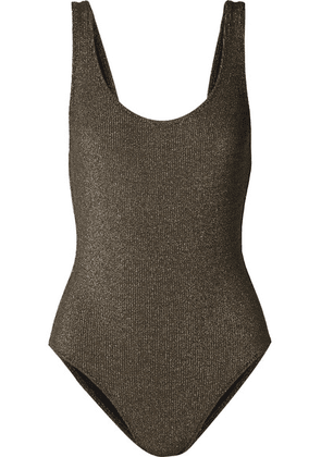 Solid & Striped - The Anne-marie Ribbed Stretch-lurex Swimsuit - Army green