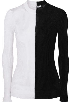 Givenchy - Two-tone Ribbed-knit Sweater - Black