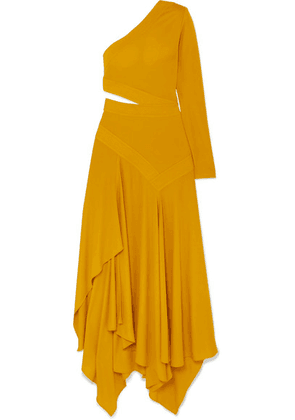 Givenchy - One-shoulder Asymmetric Cutout Crepe Gown - Yellow