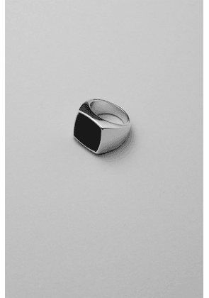 Black Agate Signet Ring - Silver