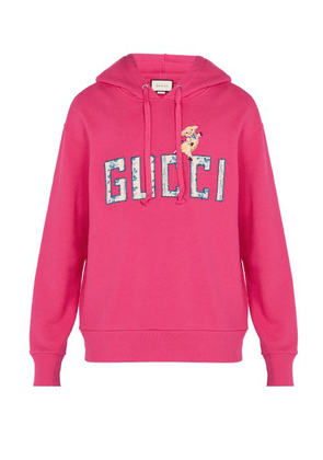 Gucci - Logo Embroidered Hooded Sweatshirt - Mens - Pink