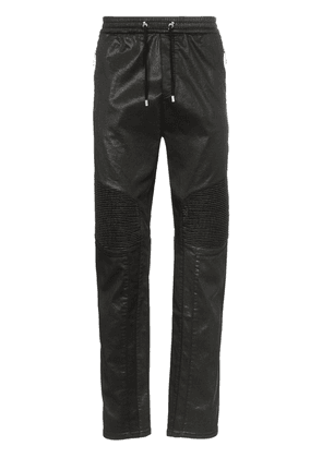 Balmain ribbed knee drawstring biker track pants - Black