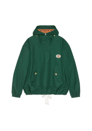 Hooded cotton jacket with patch