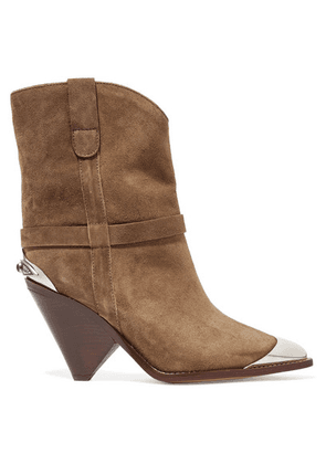 Isabel Marant - Lamsy Embellished Suede Ankle Boots - Taupe