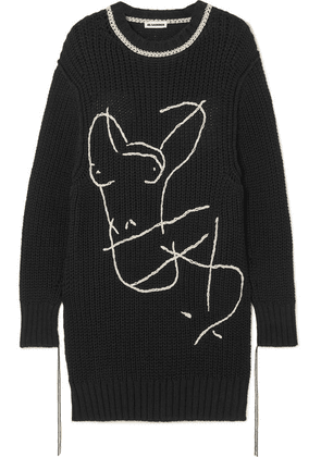 Jil Sander - Oversized Embroidered Cotton Sweater - Black