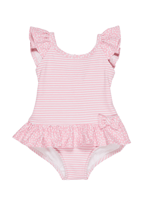 Stripes & Dots Ruffle-Trim One-Piece Swimsuit, Size 6-24 Months