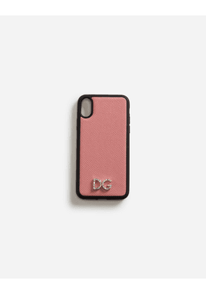 Dolce & Gabbana Hi-Tech Accessories - DAUPHINE CALFSKIN IPHONE X COVER WITH CRYSTAL LOGO PINK
