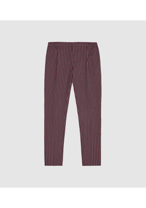 Reiss Dam - Striped Casual Trousers in Bordeaux, Mens, Size 28