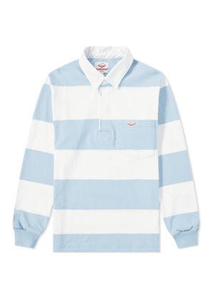 Battenwear Pocket Rugby Shirt White & Light Blue