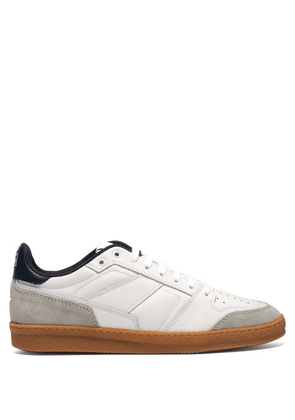 Ami - Basket Leather And Suede Low Top Trainers - Mens - White Navy