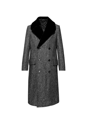 Dunhill - Double-breasted Shearling-trimmed Herringbone Wool-blend Coat - Black