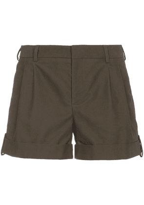 Saint Laurent Green Pleat Front Shorts