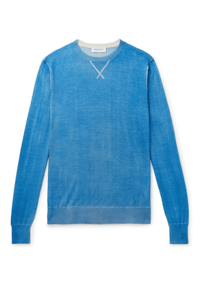 President's - Slim-fit Hand-painted Wool And Cashmere-blend Sweater - Blue