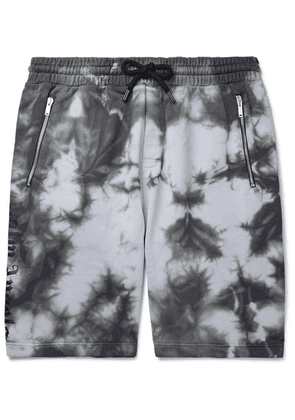 Palm Angels - Tie-dyed Loopback Cotton-jersey Drawstring Shorts - Gray