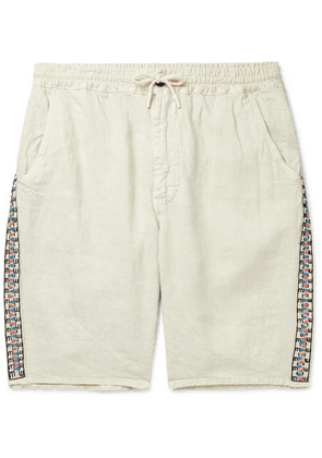 President's - Beaded Garment-dyed Linen Drawstring Shorts - Beige