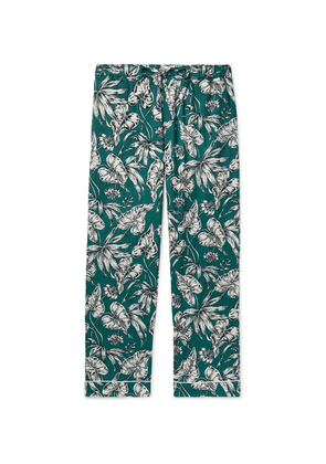 Desmond & Dempsey - Printed Cotton Pyjama Trousers - Green