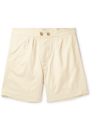 Holiday Boileau - Pleated Cotton-twill Shorts - Cream