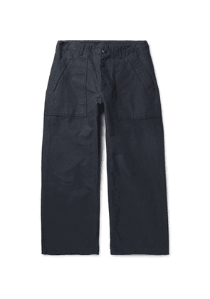 Beams Plus - Cropped Wide-leg Cotton-twill Trousers - Midnight blue